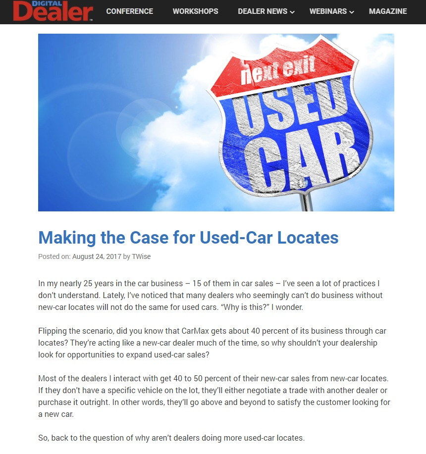 Making the Case for Used Car Locates Digital Dealer - S&A Communications